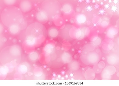 A festive abstract pink purple gradient background texture with glittering stars and bokeh circles. Card concept for Happy New Year, party invitation, valentine or other holidays.