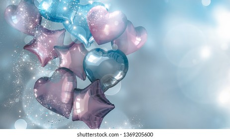 festive background with blue and pink balloons, 3D image