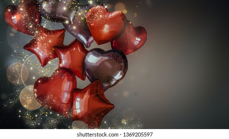 festive background with red and black balloons