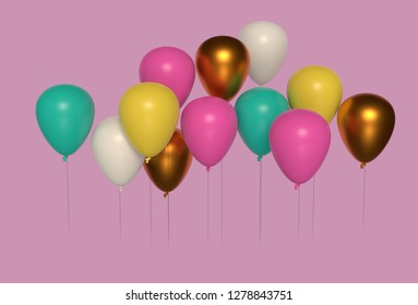 Festive balloons against a pink background for celebrations. 3D render/rendering