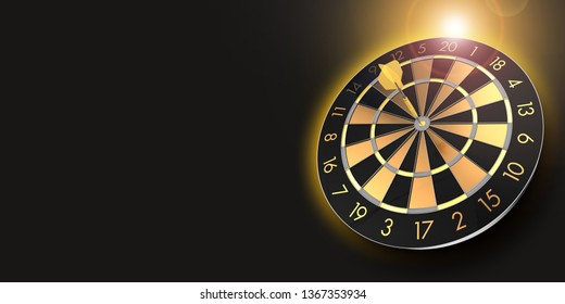 festive black and glossy golden dart board with copy space and lens flare  - 3D rendering