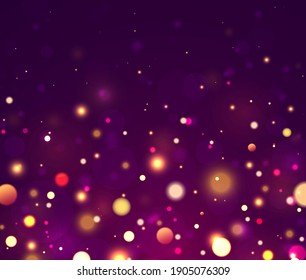 Festive blue, purple and golden luminous background with colorful lights bokeh. Christmas concept Xmas greeting card. Magic holiday poster, banner. Night bright gold sparkles Light abstract