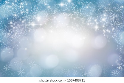 Festive Bokeh Background with Lights and Snowflakes