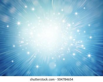 Festive bright light exploding inside a blue glittering background