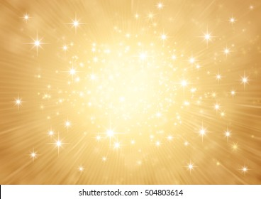 Festive bright light exploding inside a glittering gold background
