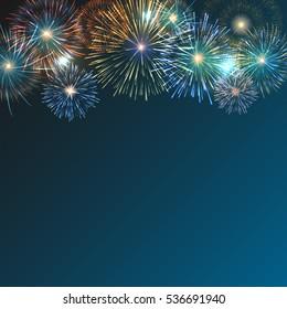 Festive brightly colorful fireworks bursting on blue twilight. transparent background Graphic illustration