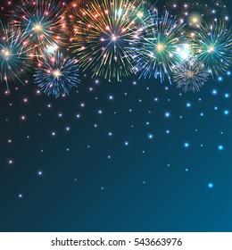 Festive brightly colorful fireworks bursting on blue twilight. background. Graphic illustration