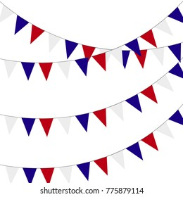 Festive bunting flags. Holiday decorations.