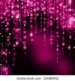 Festive Christmas elegant abstract background with bokeh lights and stars
