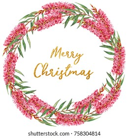 Festive Christmas floral wreath with hand painted watercolor Bottlebrush flowers. Red and green colored design with gold glitter Merry Christmas text.