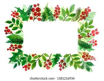 Festive Christmas frame watercolor illustration