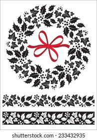 Festive Christmas holly and ivy wreath and seamless border design elements.