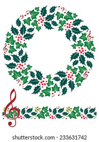 Festive Christmas Music Wreath and Seamless Border. Isolated on white.