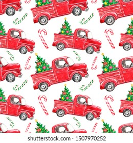 Festive Christmas seamless pattern with watercolor red truck and fir tree on white background. Watercolor vintage car, pine tree and striped candy cane. For winter holiday design, packaging.