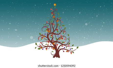 Festive Christmas Tree Flourishes With Beautiful Snowflakes Falling Background