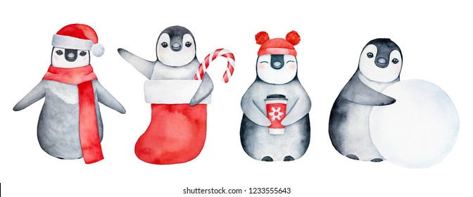 03b3198b85220 Festive collection of funny baby penguins with various winter symbols like  candy cane