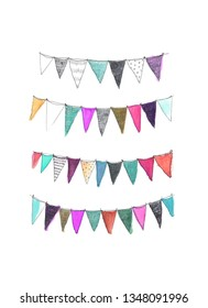 Festive, decorative, colorful bunting flags in soft watercolor and biro pen or ballpoint pen for greeting cards, invitations, postcards. Hand drawn and tinted, soft texture, off-white background.