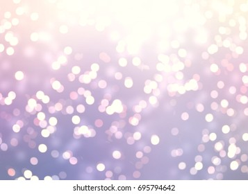 Festive delicate glitter on lilac background. Bokeh texture. Empty wedding sparkling backdrop. Christmas garland lights pattern.