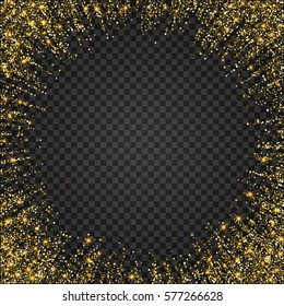 Festive explosion of confetti. Gold glitter background for the card, invitation. Holiday Decorative element. Illustration of falling shiny particles and stars isolated on checkered background.