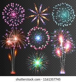 Festive Firework.  Isolated Pictograms. Dazzling Light up the sky. Icons on a black Background