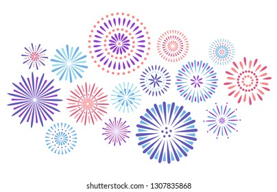 Festive fireworks. Celebration party firework, festival firecracker and, holiday feast celebrated colorful sky fire explosion stars, birthday or Xmas celebrating isolated  background