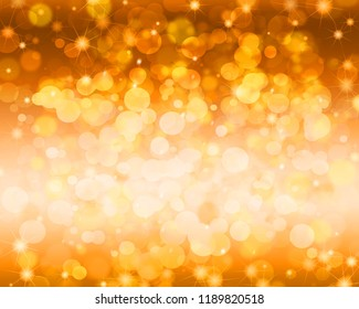 Festive gold abstract background with bokeh and sparkle.