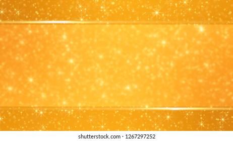 Festive gold glitter blurred stars romantic background 3D illustration