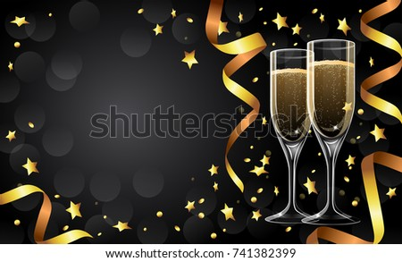 festive greeting card design template with golden ribbons champagne glasses copy space illustration