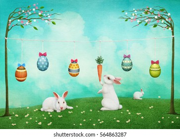 Festive greeting card  Easter with bunnies and Easter Eggs