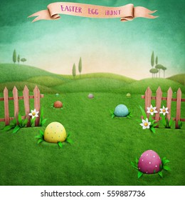 Festive greeting card or  poster with  green rustic landscape, and Easter eggs.