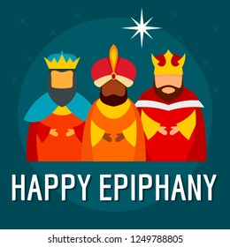 Festive happy epiphany concept background. Flat illustration of festive happy epiphany concept background for web design