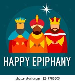Festive happy epiphany concept background. Flat illustration of festive happy epiphany concept background for web design