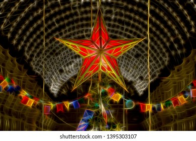 Festive illustration with neon effect to a photograph of the ruby Kremlin star decorating the top of a Christmas tree under a glass roof