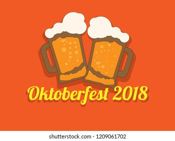 Festive inscription for oktoberfest with a picture of beer on a bright background.  illustration.