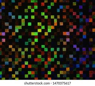 Festive iridescent holographic square, mosaic shine effect template for celebration decorations.