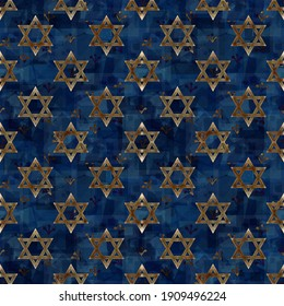 Festive and magical religious illustration with a dark blue background and a print of Magen David - the symbol of Judaism, in honor of the 13th birthday ceremony of a Jewish son (Bar Mitzvah)