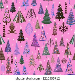 Festive pattern, Christmas and New Year decoration. Fabulous multicolored fir forest on the background of lavender pink. Snow in the forest. Seamless pattern for printing on fabric, paper, wallpaper.