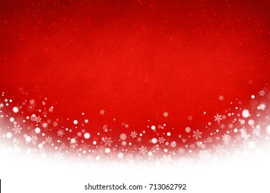 Festive red Christmas and white snowflakes background