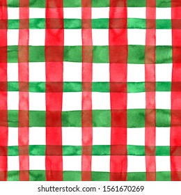Festive red and green plaid checkered seamless pattern with white backdrop. Watercolor hand painted stripes and lines. Christmas themed tartan print for textile, fabric, wrapping paper, wallpapers.