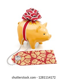 Festive Savings Bank. Yellow coin bank tied with a gift red bow behind of decorated label on reflective white background. 3D rendering image.