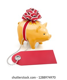 Festive Savings Bank. Yellow porcelain coin bank tied with a red gift bow beside of a percent tag on reflective white background. 3D rendering image.