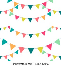 Festive seamless pattern of bunting flags.