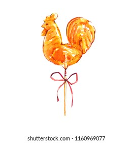 Festive watercolor illustration of candy, candy, cockerel on a stick.