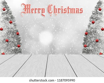 Festive winter design with white wood planks, in the background blurred bokeh, snowy pine and snowfall. The trees decorated with red balls. Merry Christmas with text on the top.