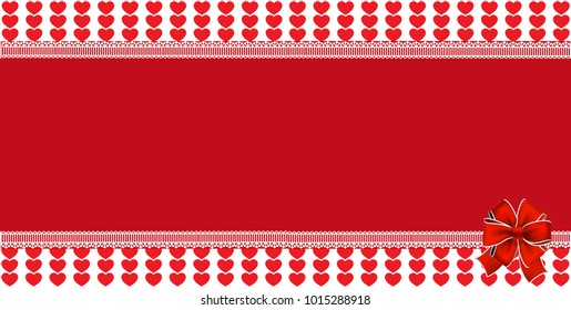 festive wrapped template with space for text and ribbon on striped red hearts background framed with