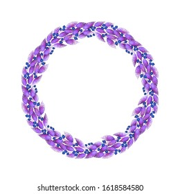 A festive wreath of purple lilac pink leaves and blue berries.  Decorative round frame. Wreath on a white background.