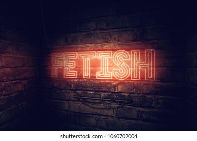 Fetish neon sign, conceptual 3d rendering illustration