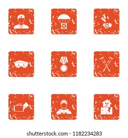 Feud icons set. Grunge set of 9 feud icons for web isolated on white background
