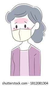 Feverish elderly woman wearing medical mask prevention corona virus or covid-19 or another type of virus.