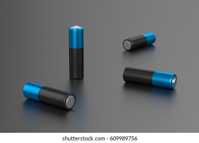 A few alkaline batteries on gray background. 3D rendering